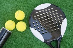 topview of paddle tennis objects - stock photo