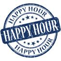 Stock Illustration of happy hour grunge blue round stamp
