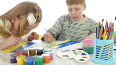 Children painting at art school education Stock Footage