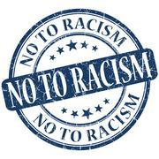 No to racism grunge blue round stamp Stock Illustration