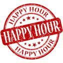 Stock Illustration of happy hour grunge red round stamp