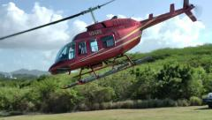 Antigua helicopter 116, helicopter is starting for a flight over the island Stock Footage
