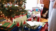 Presents at christmas morning Stock Footage