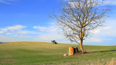 Blue tractor,one Stock Footage