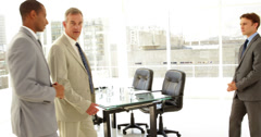 Businessmen being introduced Stock Footage
