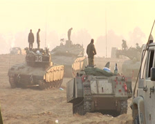 Israeli Tanks and soliders on Gaza Border Stock Footage