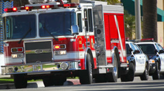 Fire Department and Police Emergency Response Stock Footage