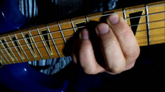 Electric Guitar Player Left Hand Stock Footage