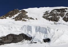 Switzerland, Bernese Oberland, Icefall at Aletsch Glacier Stock Photos