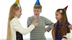 kids during birthday party - stock footage