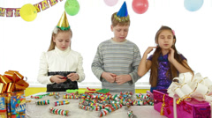 Kids during birthday party Stock Footage