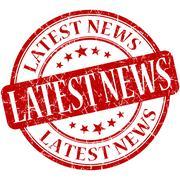 Latest news grunge red round stamp Stock Illustration