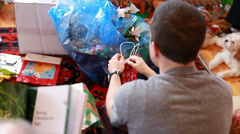 Gifts at christmas morning Stock Footage