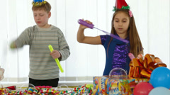 Children having fun at a birthday party - stock footage