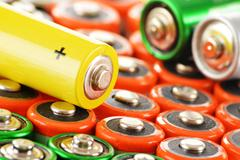 Composition with alkaline batteries.  chemical waste Stock Photos