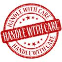 Stock Illustration of handle with care grunge red round stamp