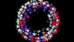 Sparkling red white and blue stars spiral spinning out of  a black background Stock Footage