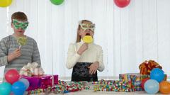 Children fun at birthday party - stock footage