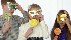 Children having fun at birthday party Stock Footage