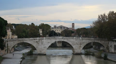 Birds go crazy over a bridge in Rome Stock Footage