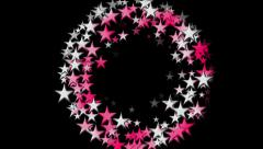 Sparkling stars in a pink and white spiral spinning out of  a black background - stock footage