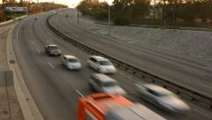 4K Highway Traffic 26 Zoom Out Timelapse Highway Sunset Stock Footage