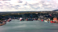 St. John's harbor and town – Newfoundland, Canada. - stock footage