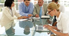 Business people working hard together Stock Footage