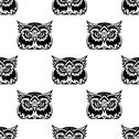 Stock Illustration of cute little wise old owl seamless pattern