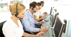 Call centre worker on a call Stock Footage