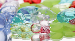 Multicolored glass objects Stock Footage