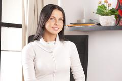 lovely housewife at home - stock photo