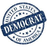democrat blue stamp - stock illustration