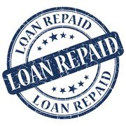 loan repaid blue stamp - stock illustration