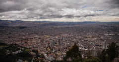 4K time lapse of clouds passing over Bogota in Colombia from Monserrate Stock Footage
