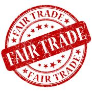 fair trade red stamp - stock illustration