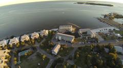 Cedar Key Resorts along the beach Stock Footage