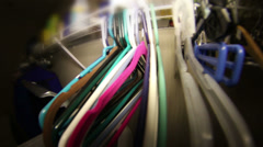 Laundry room coat hangers Stock Footage
