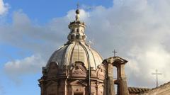 Three crosses on Rome church roof Stock Footage