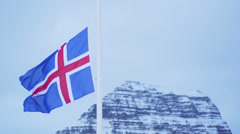 Iceland national flag swings Stock Footage