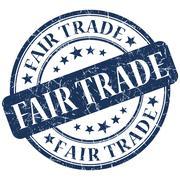 fair trade blue stamp - stock illustration