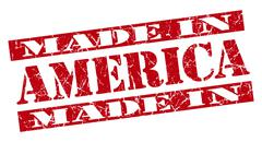 made in america grunge red stamp - stock illustration