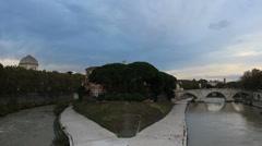The Tiber Island, Roma Stock Footage