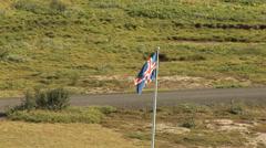 Icelandic Flag Vast Landscape Iceland Zoom Out Stock Footage