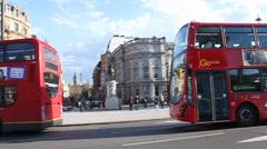 Traffic Scene at Trafalgar Square Stock Footage
