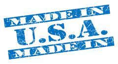 Made in usa grunge blue stamp Stock Illustration