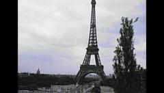 Paris 1975: street traffic near the Eiffel tower Stock Footage