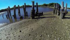 Old Rail Road Trestle in Cedar Key Stock Footage
