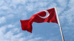 Turkey Flag Waving in Breeze with Blue Sky and Clouds - stock footage
