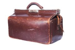 Brown vintage valise Stock Photos